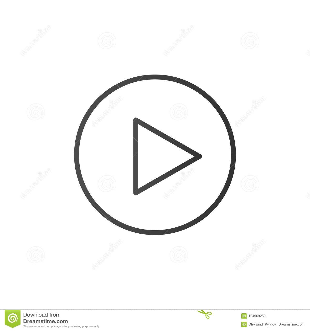 Play button, line icon. Vector outline media sign. Trendy flat outline ui sign design. Thin linear graphic pictogram for web site,