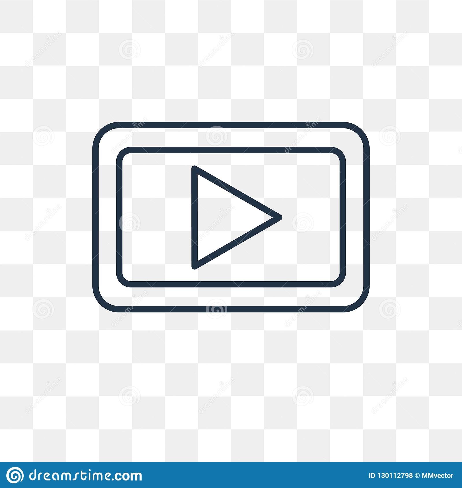 Play button vector icon isolated on transparent background, line