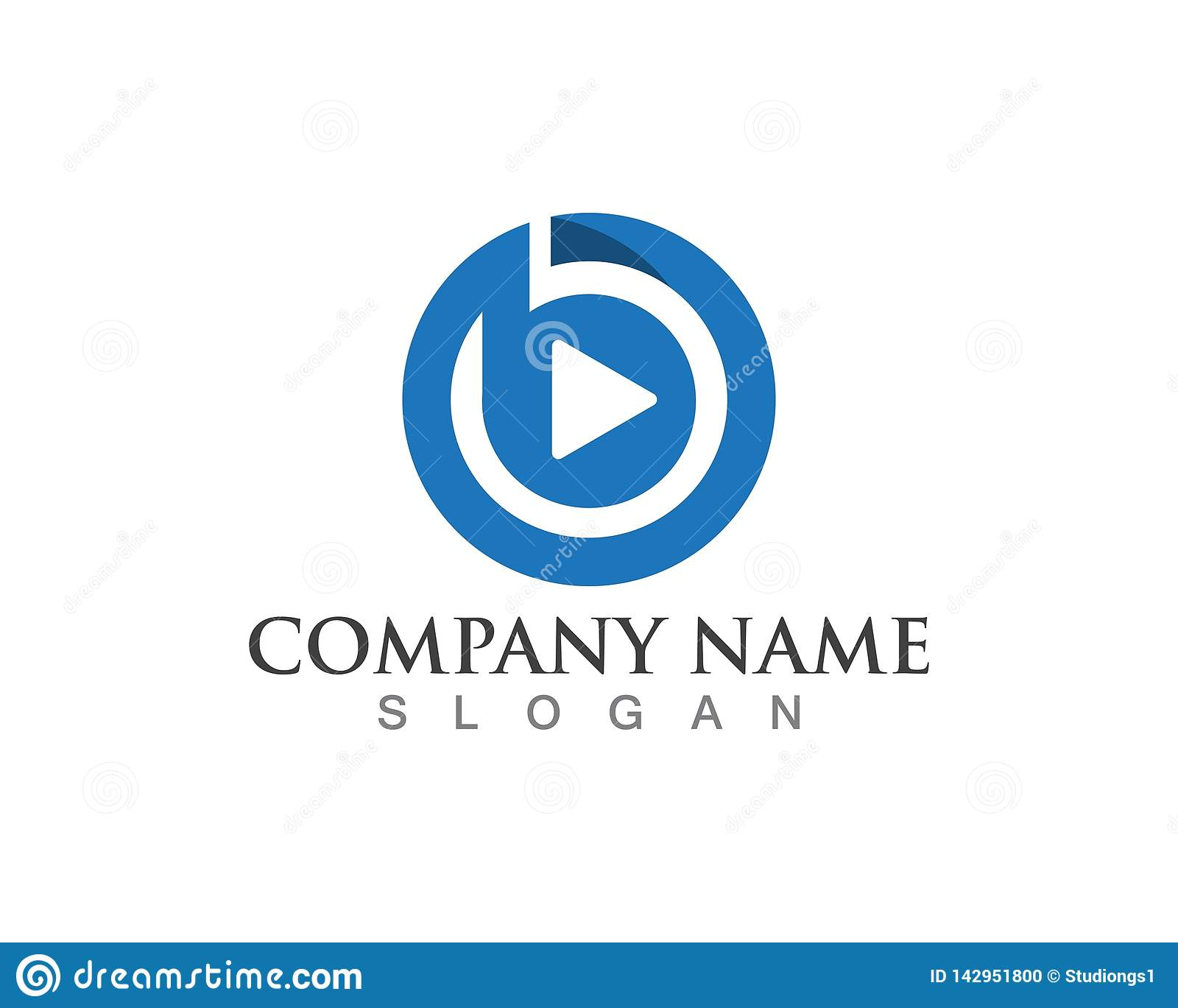 Play button vector logo media player vector.