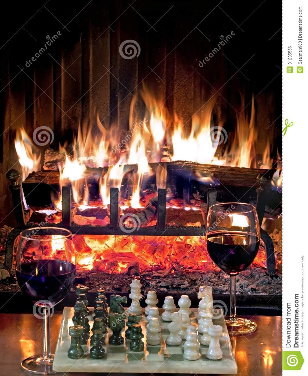 Play Chess Drinking Red Wine In Front Of A Roaring Fireplace ...