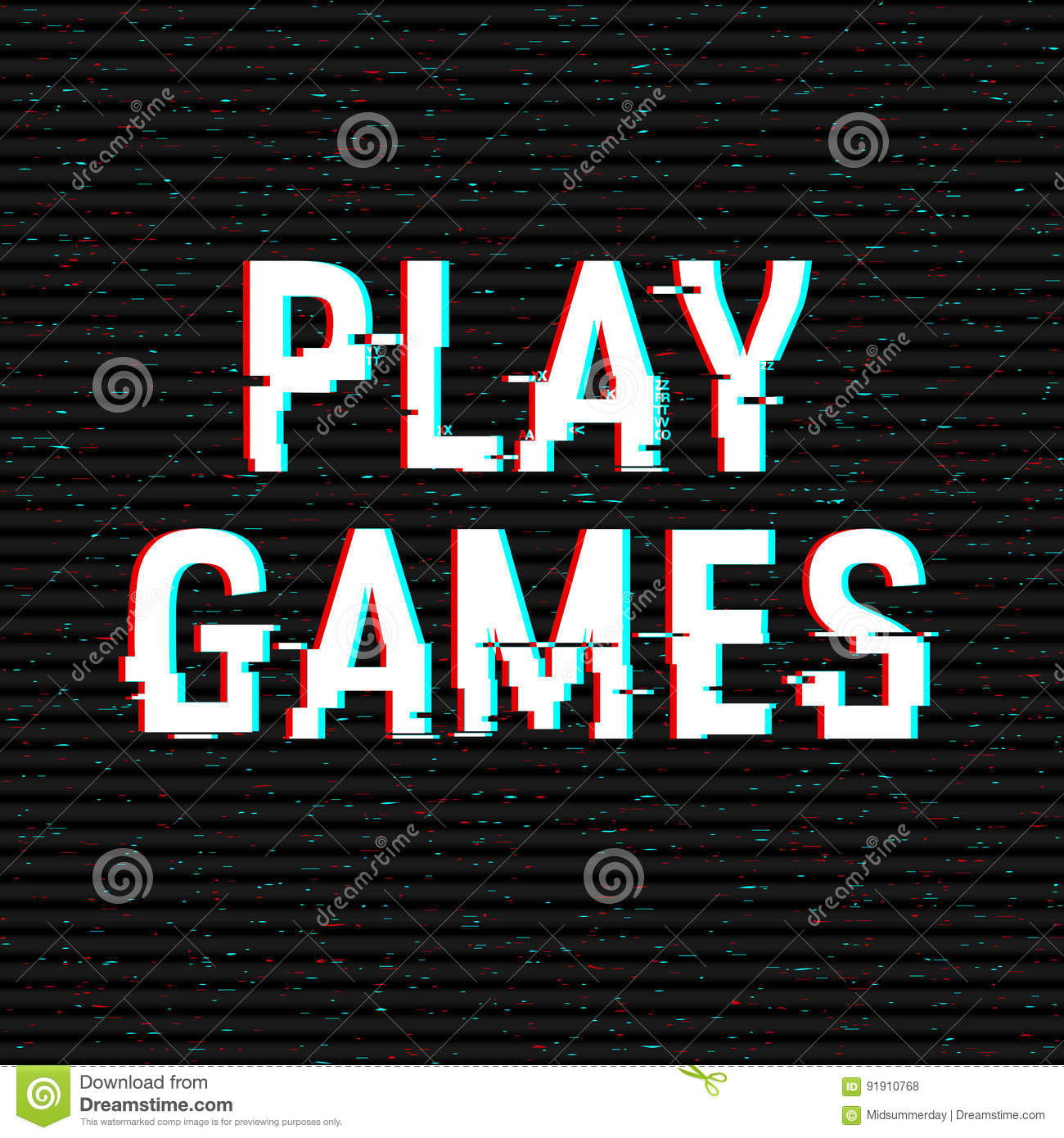 Play Games glitch text. Anaglyph 3D effect. Technological retro background. Vector illustration. Creative web template