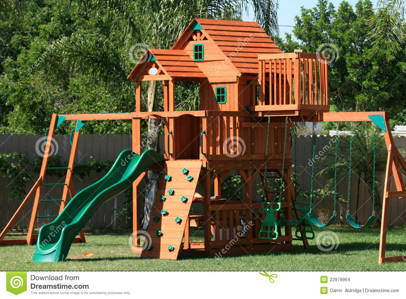 play house swings and slide stock images image 22978964. Black Bedroom Furniture Sets. Home Design Ideas