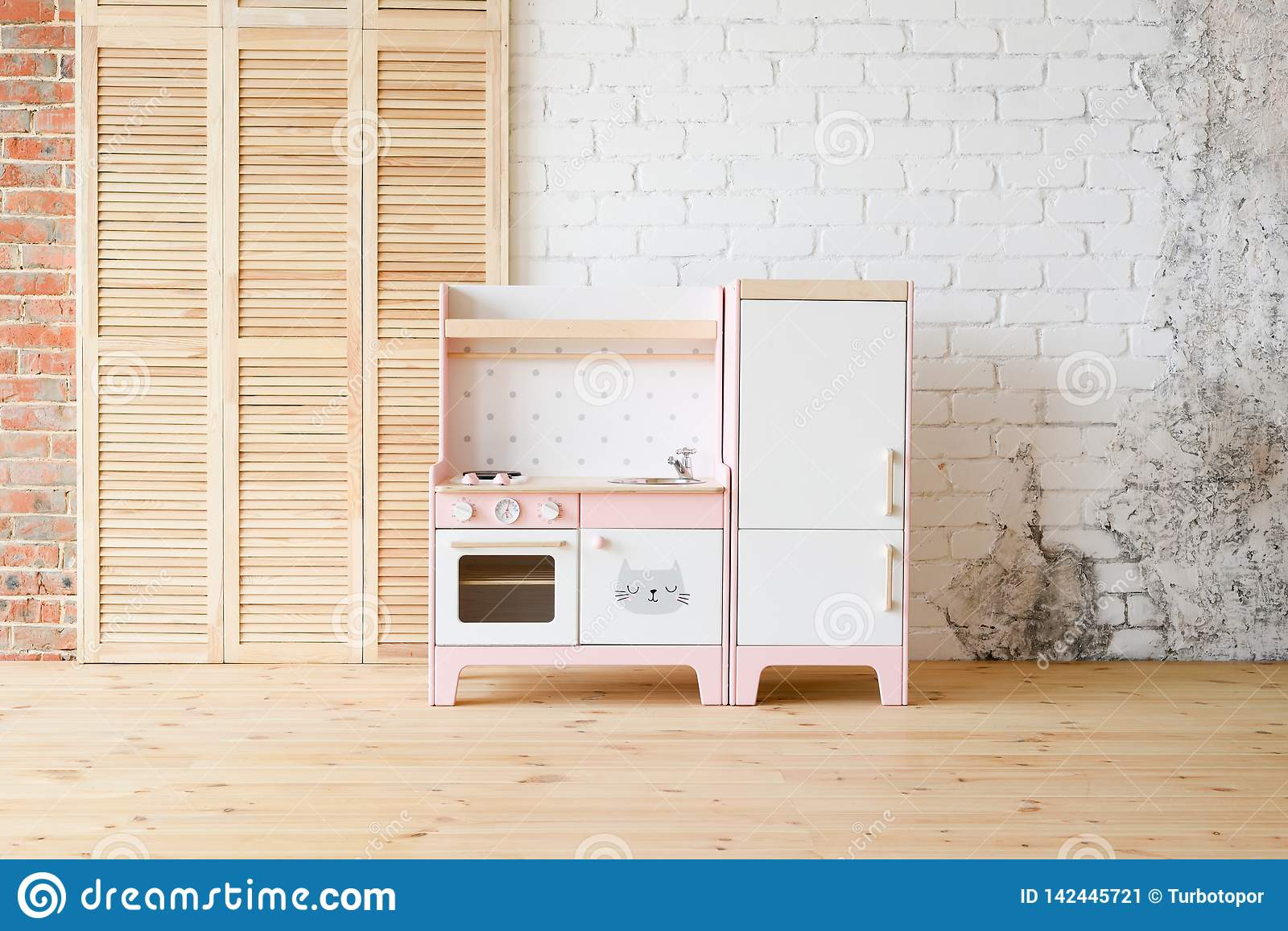 Play Kitchen For Children Pink And White Wooden Toy Kitchen With