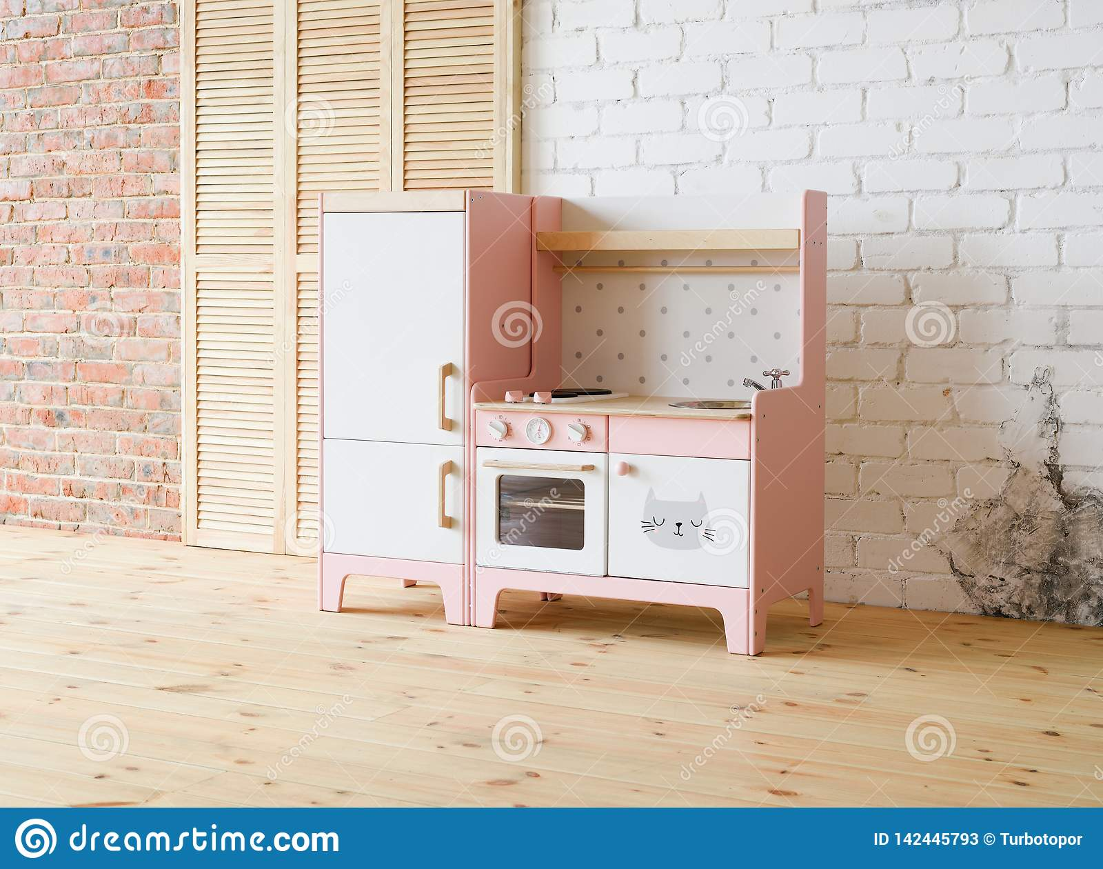 Play Kitchen For Children Pink And White Wooden Toy Kitchen