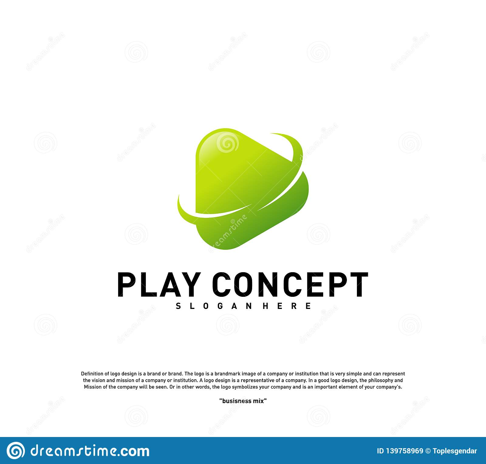 Play logo design concept. Planet Play logo template vector. Icon Symbol royalty free stock images