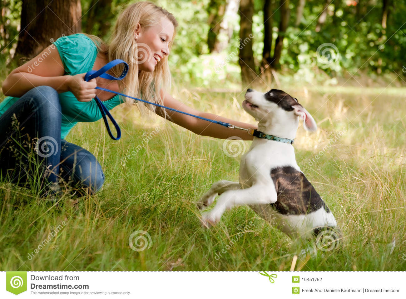 Play with my dog in the forest