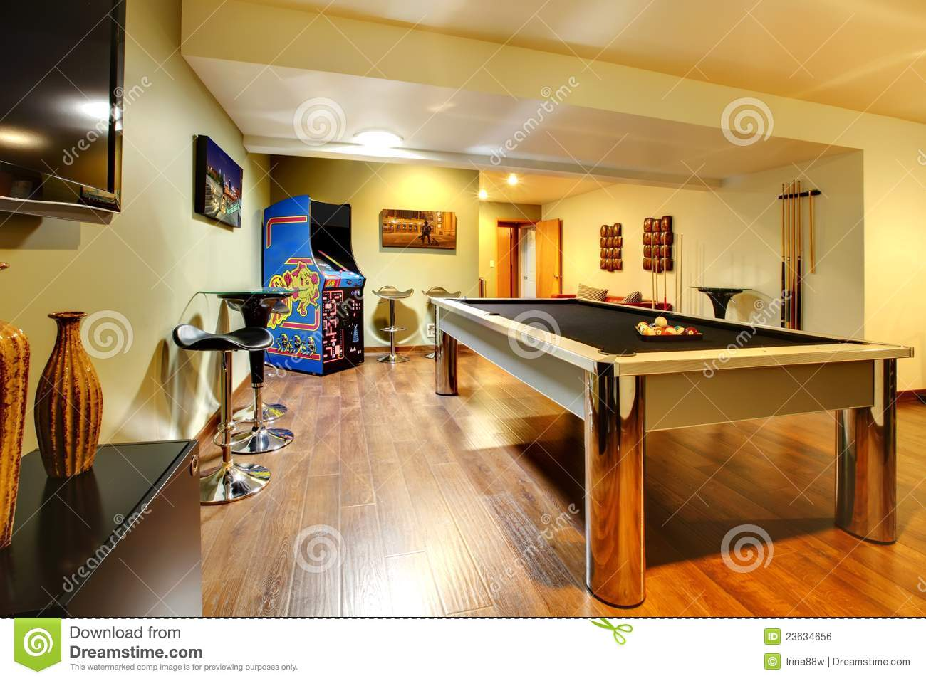 Play Party Room Home Interior With Pool Table Royalty