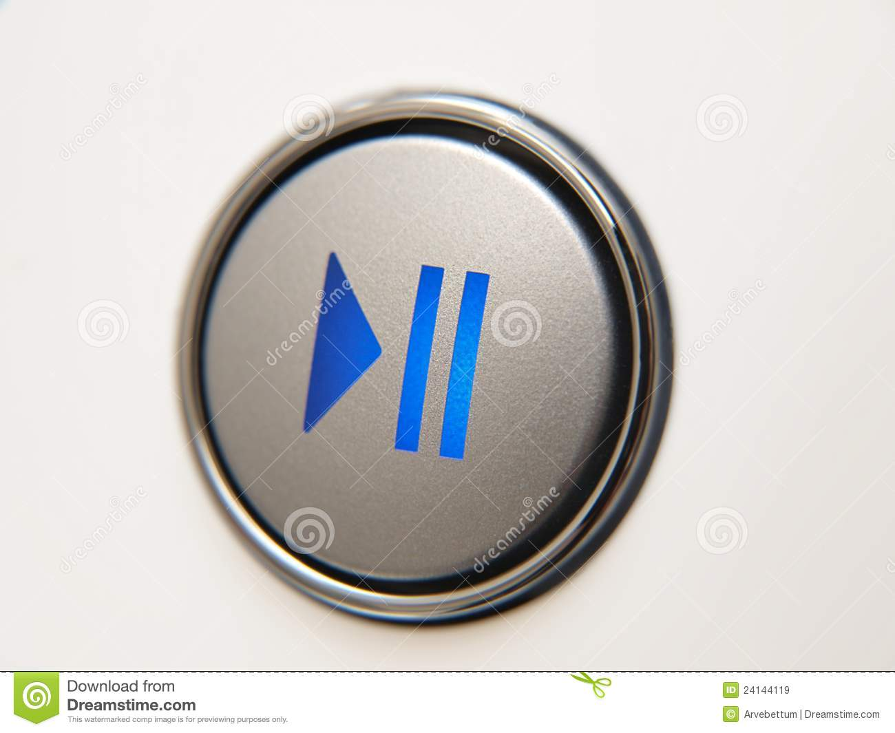 play pause button stock image image of silver single