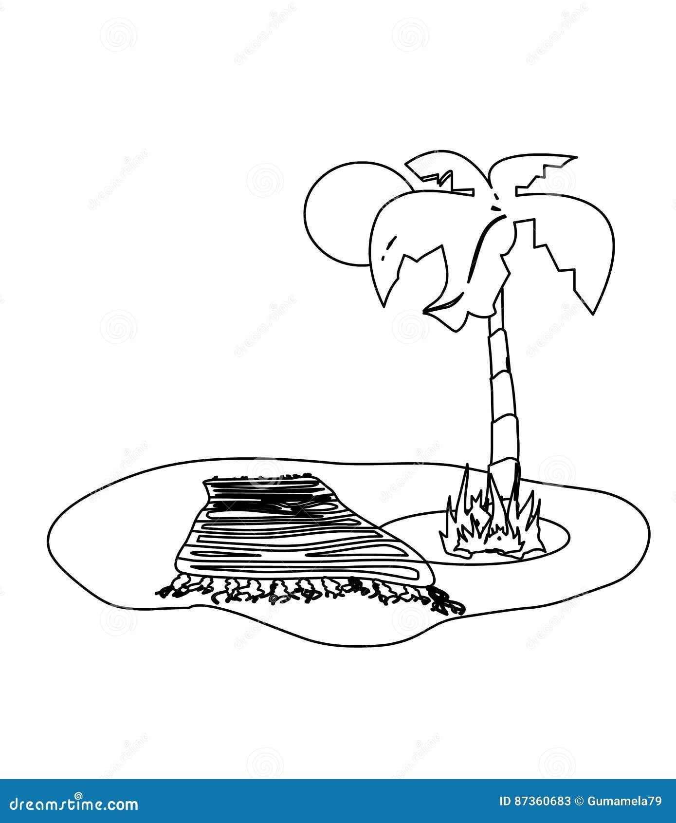 Playa Con La Página Del Colorante De La Palmera Stock de ilustración ...