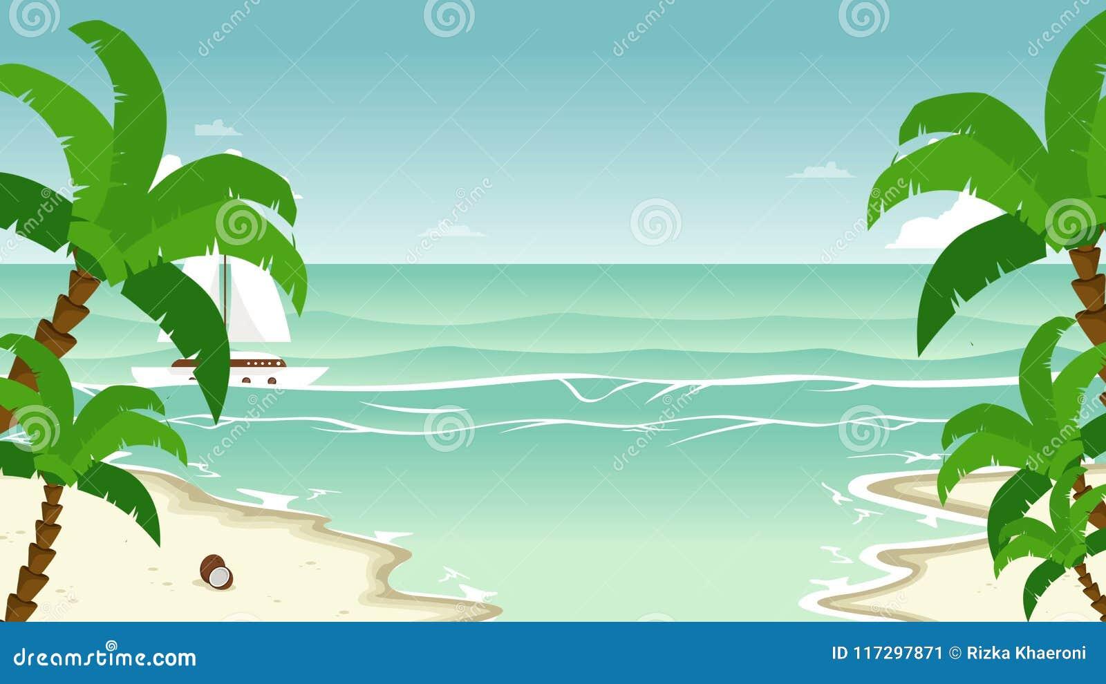 Playa Con Paisaje Animado De La Palma Almacen De Video Vídeo De