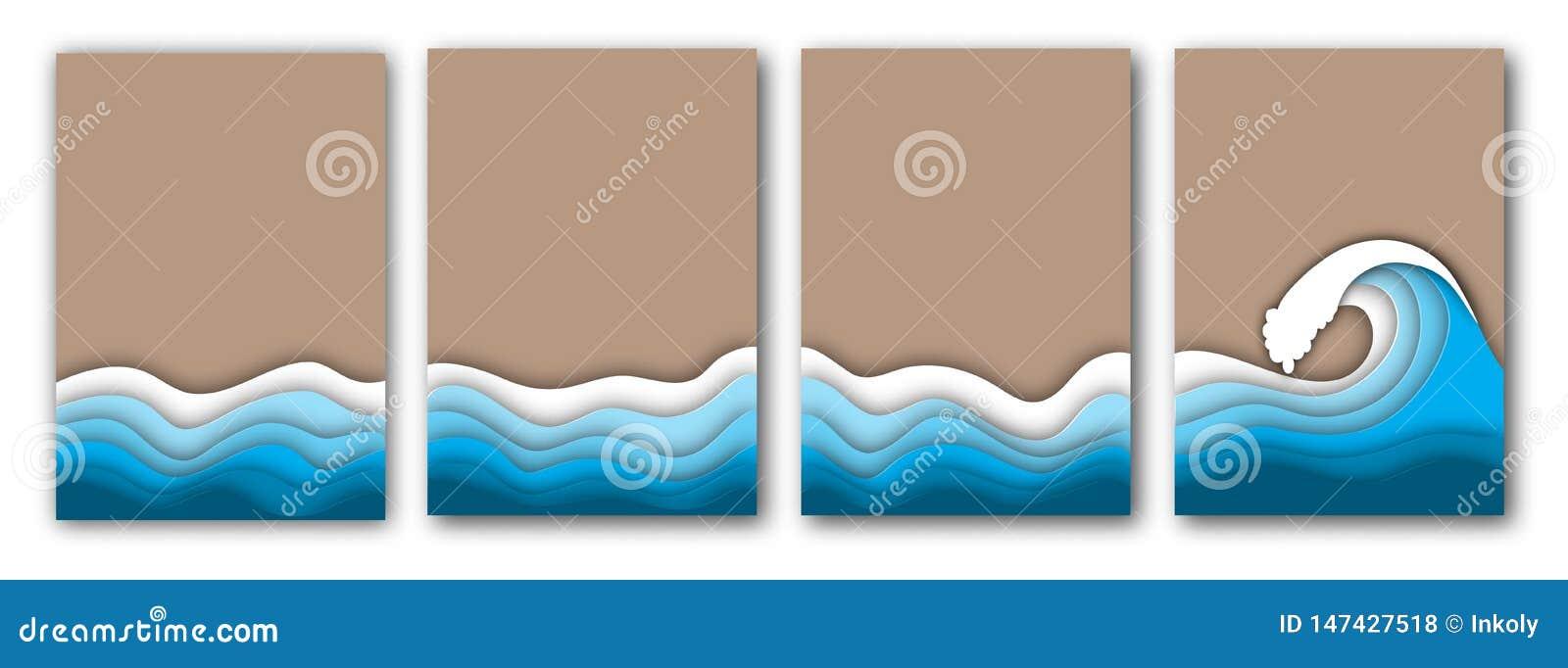 Playa cortada de papel del verano con el mar o las olas oceánicas y el sistema de los aviadores de la arena