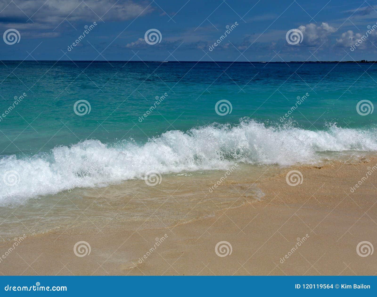 Playa de Jamaica con las ondas que se estrellan