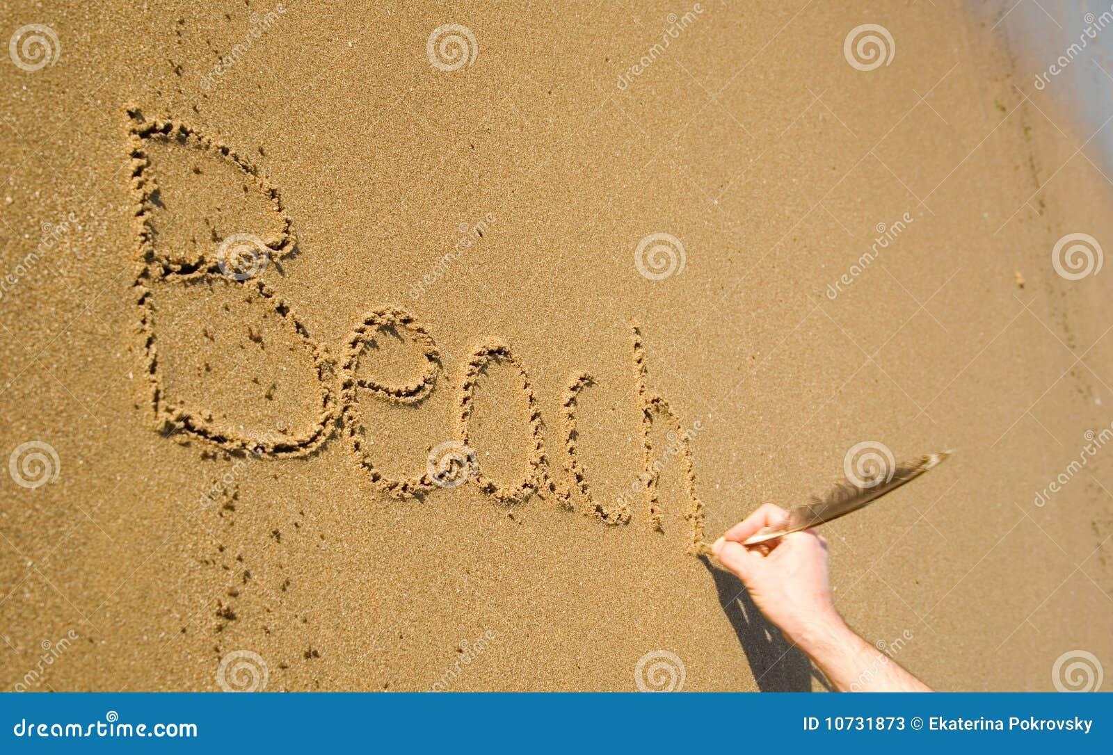 Palabras Escritas En La Arena De La: Playa De La Palabra Escrita En La Arena Imagen De Archivo