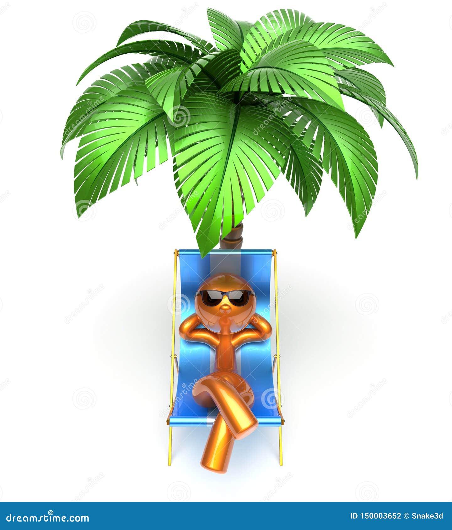 Playa de refrigeración de relajación de la palmera de la silla de cubierta del carácter del hombre