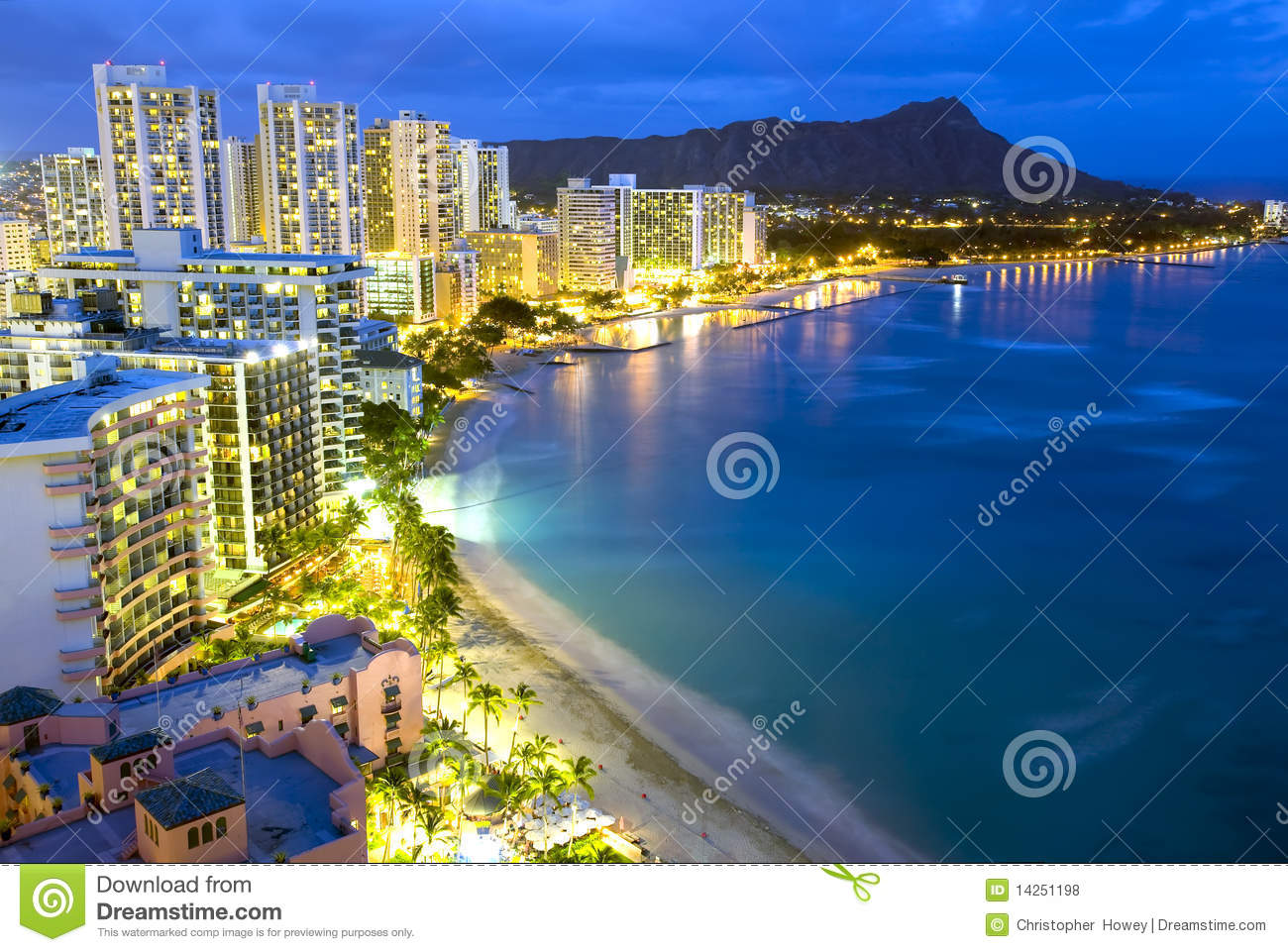 Playa de Waikiki en Honolulu, Hawaii.