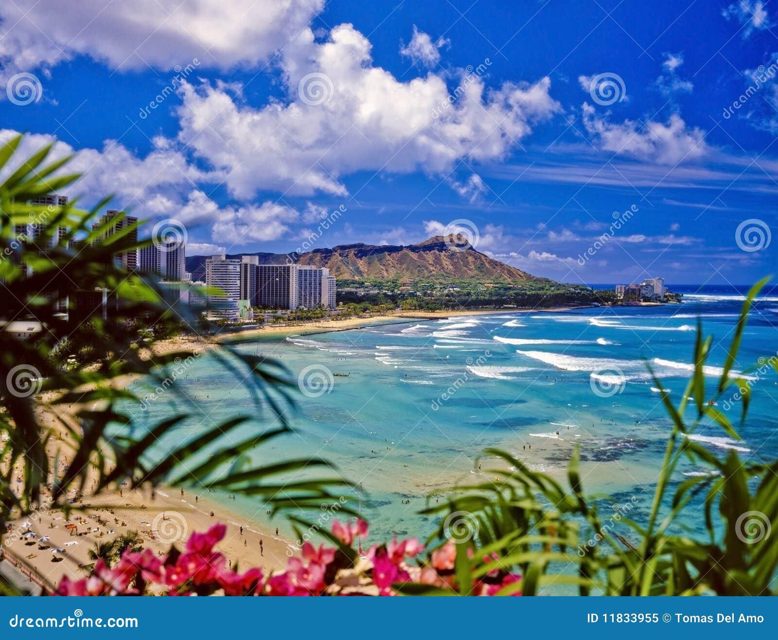 Playa de Waikiki y pista del diamante