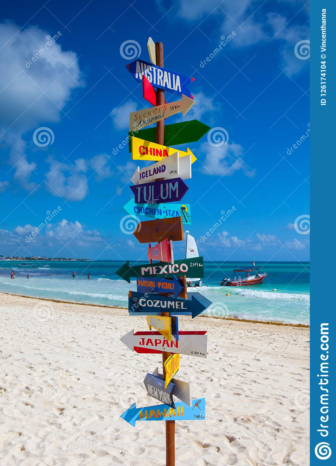 Funny direction signpost with distance to many different countries on Mexican coastline.