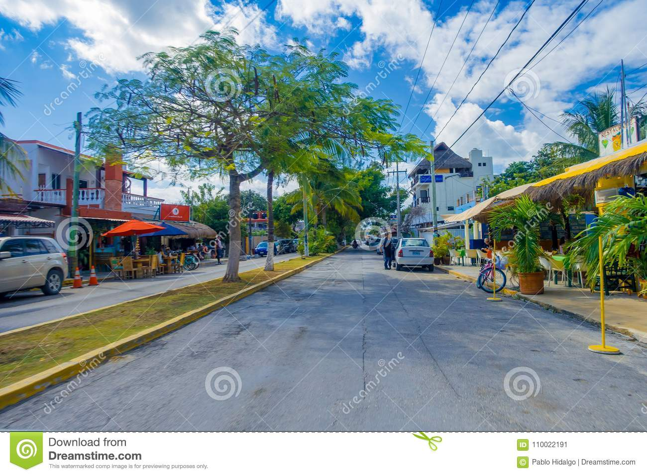 Playa Del Carmen, Mexico - January 10, 2018: People On 5th