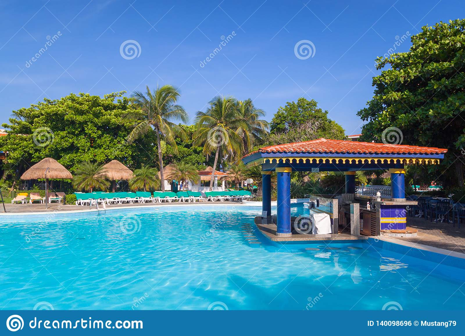 Scenery Of Luxury Swimming Pool At Riu Tequila Hotel In Playa Del