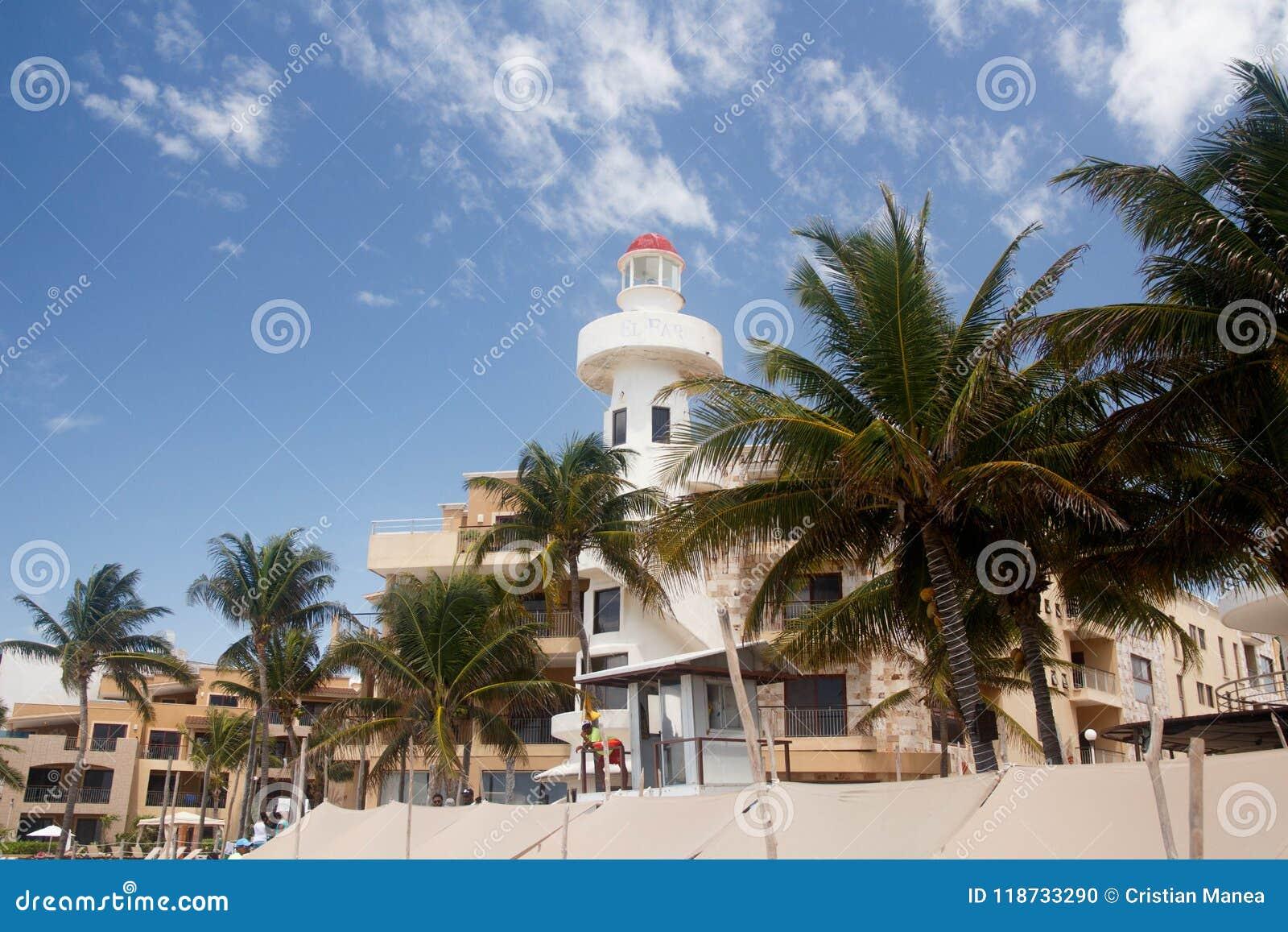 Playa del Carmen View van het Centrale deel van het strand, toerisme In Mexico