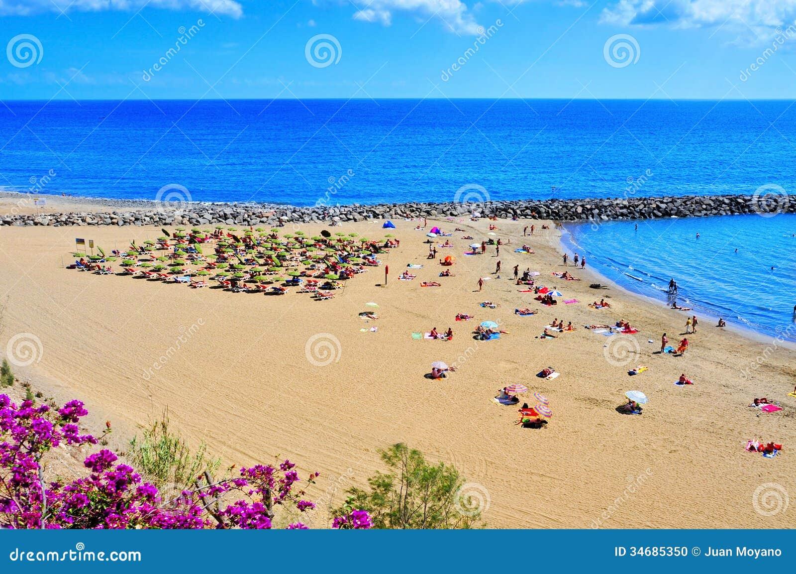 MASPALOMAS, SPAIN - OCTOBER 9: Playa del Ingles beach on October 9 ...