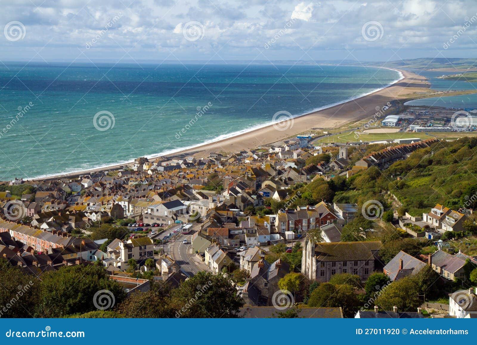 playa inglaterra de portland y de chesil foto de archivo On en la playa de chesil