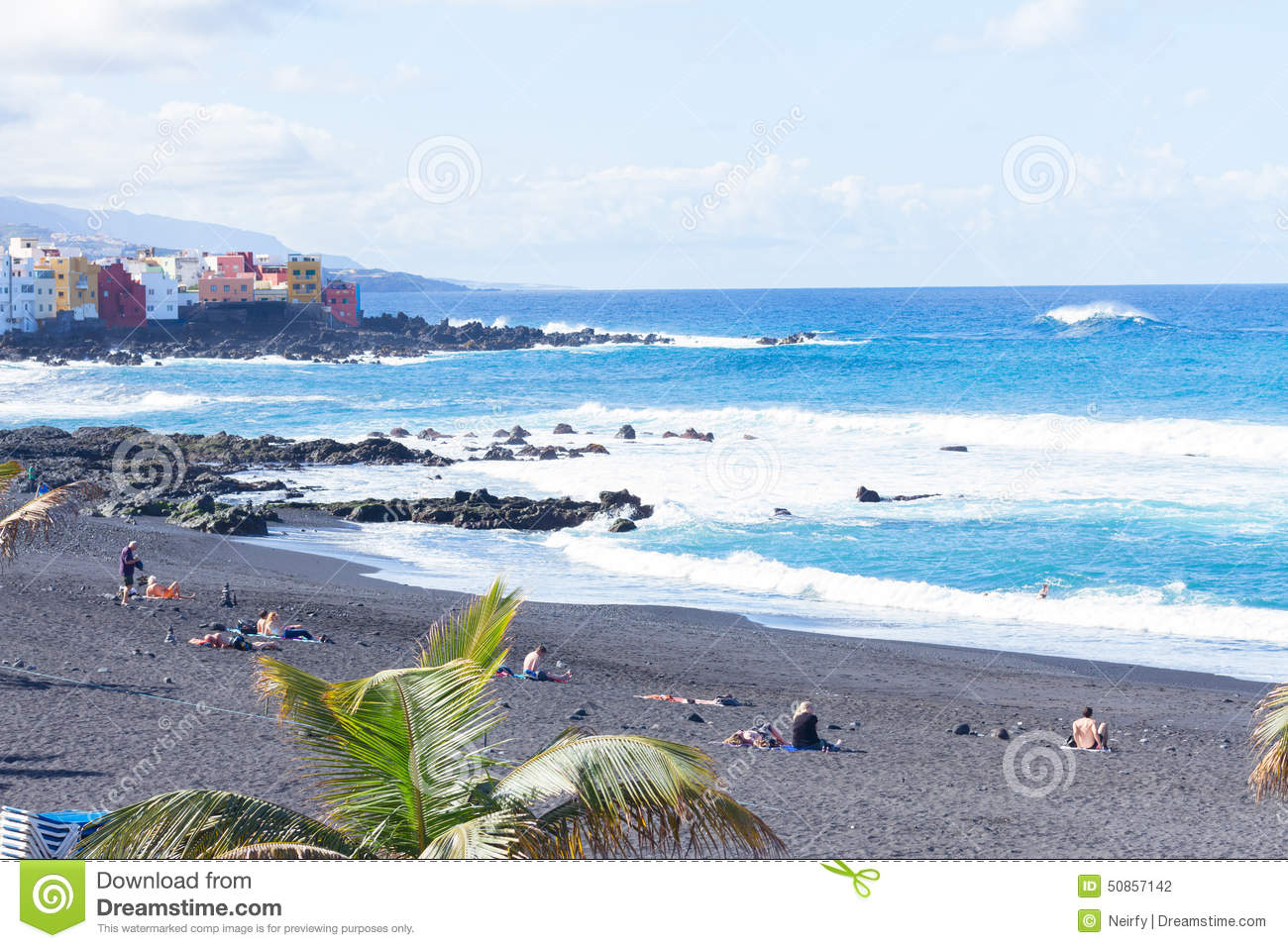 Playa jardin puerto de la cruz spain stock photo image for Aparthotel jardin de playa