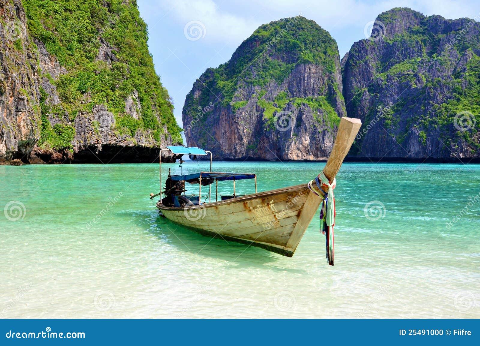 Playa tropical con el barco