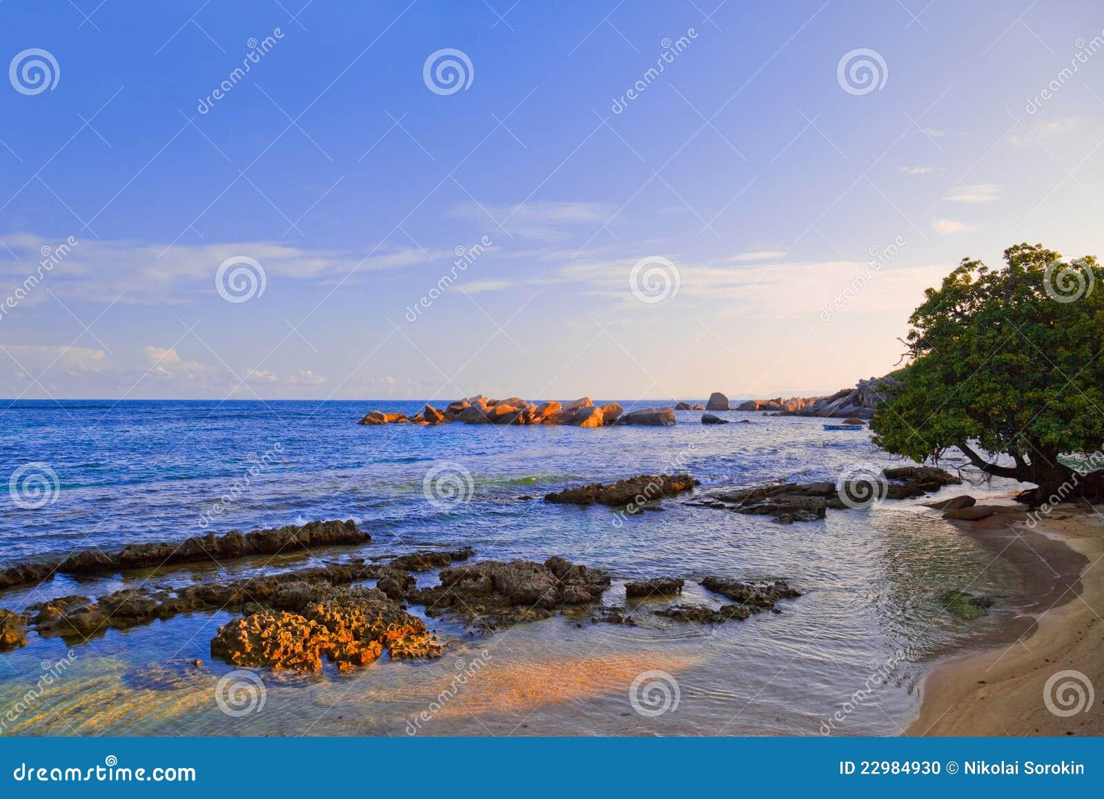 Playa tropical en Seychelles en la puesta del sol