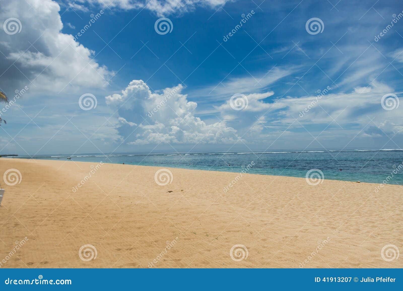 Playa tropical hermosa con la vegetación enorme
