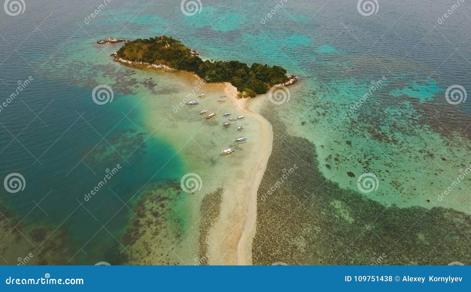Playa tropical hermosa, visión aérea Isla tropical