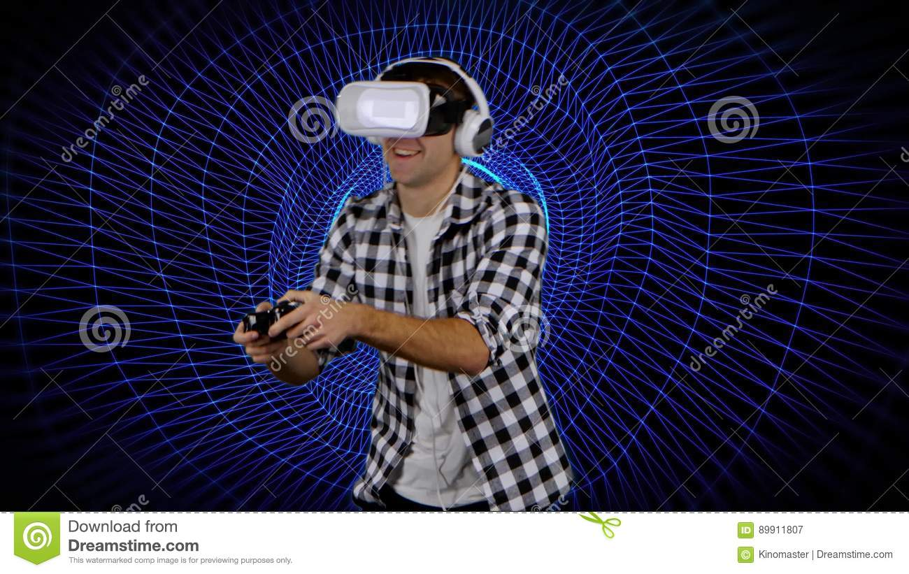 Player on background of computer graphics in virtual reality glasses player on background of computer graphics in virtual reality glasses stock video video of computer graphics 89911807 freerunsca Choice Image