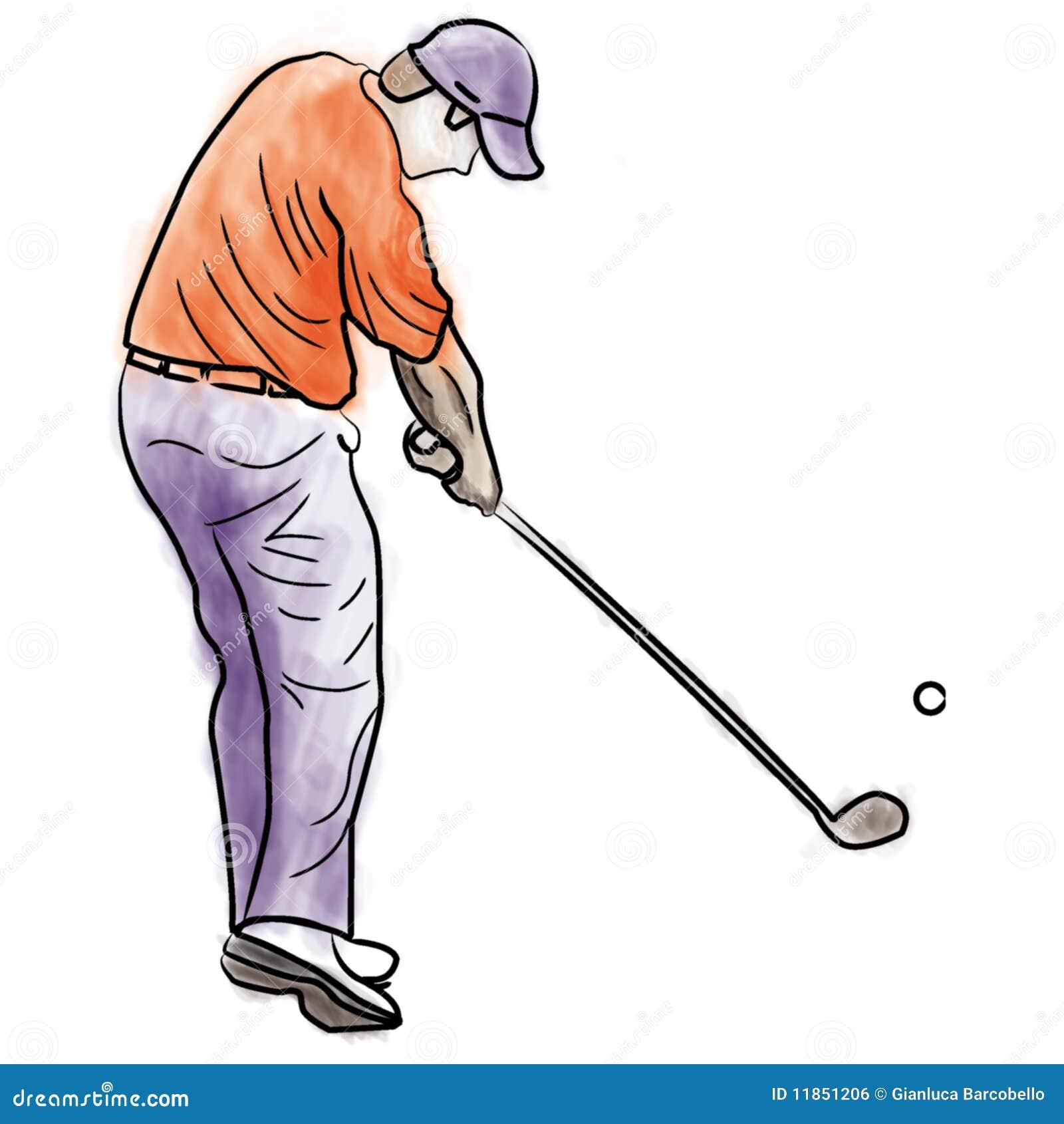 Golf Athlete Swinging Hand Drawing Illustration Golf Swing