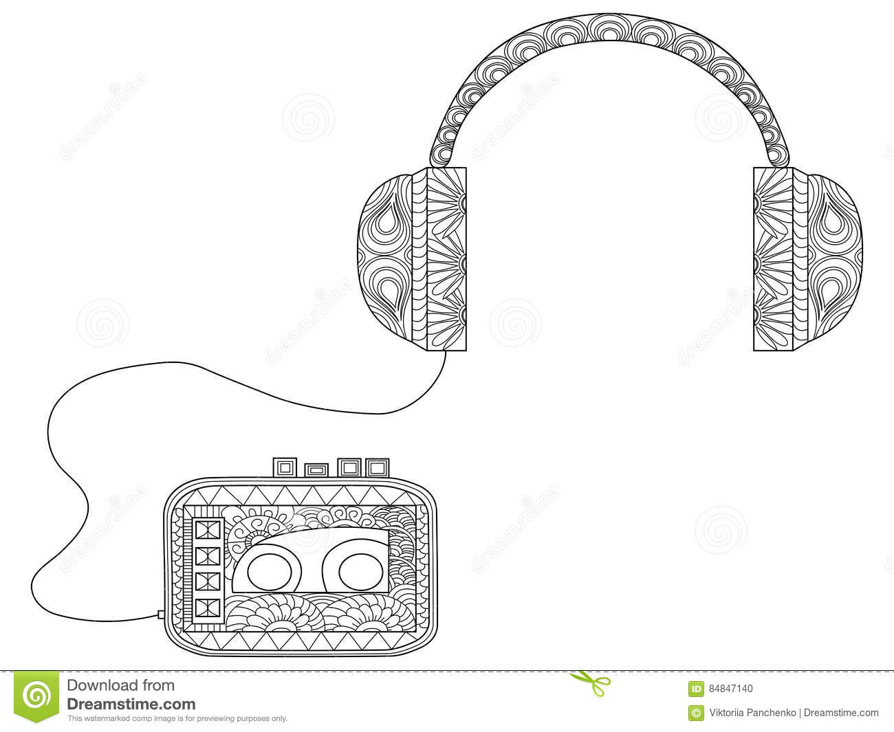 Player With Headphones Coloring Vector For Adults Stock