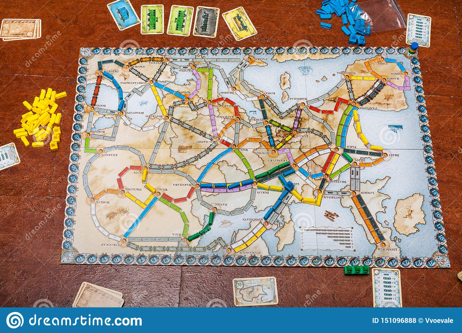 Playfield of Ticket to Ride: Europe board game