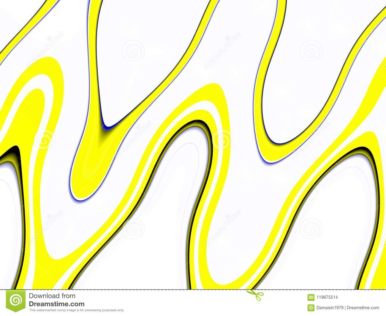 Playful black yellow waves background. Waves like shapes, abstract background