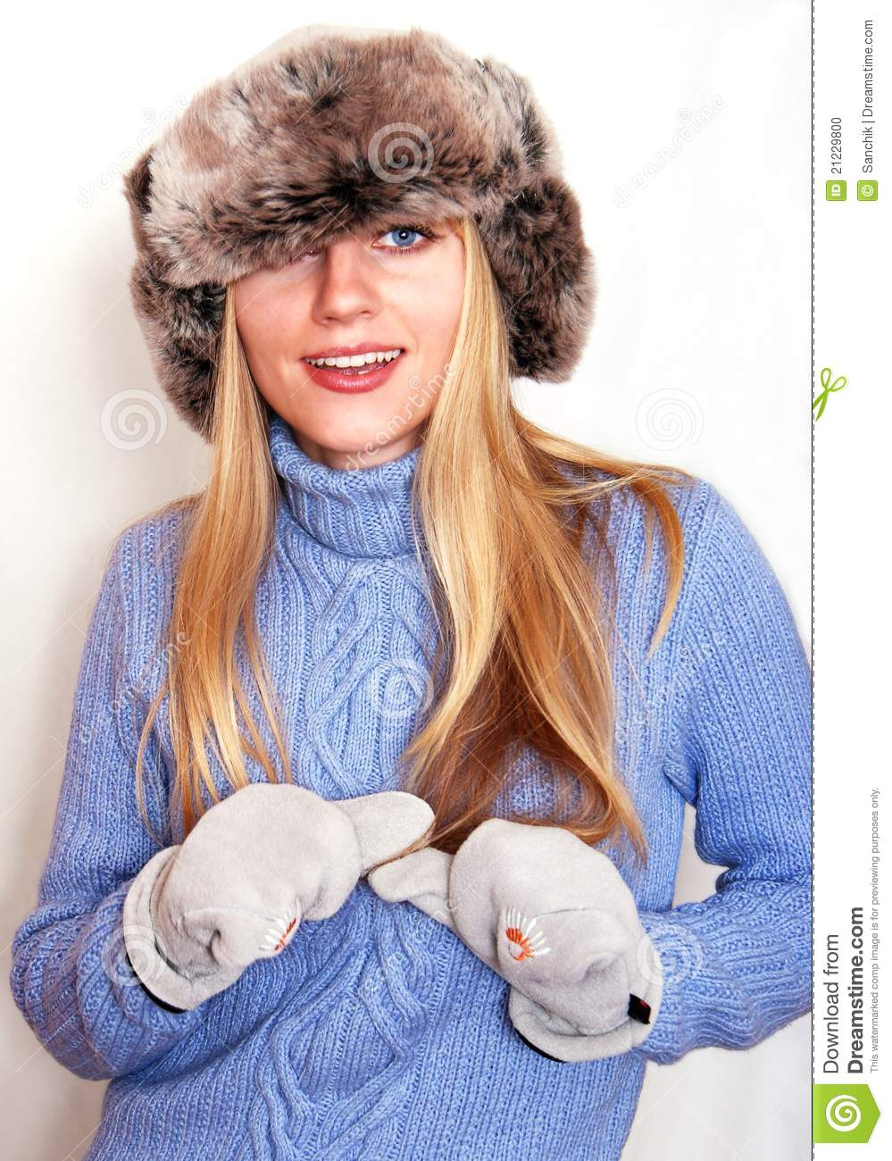 598525b5f Playful Blonde In Russian Hat Stock Photo - Image of flaps, girl ...