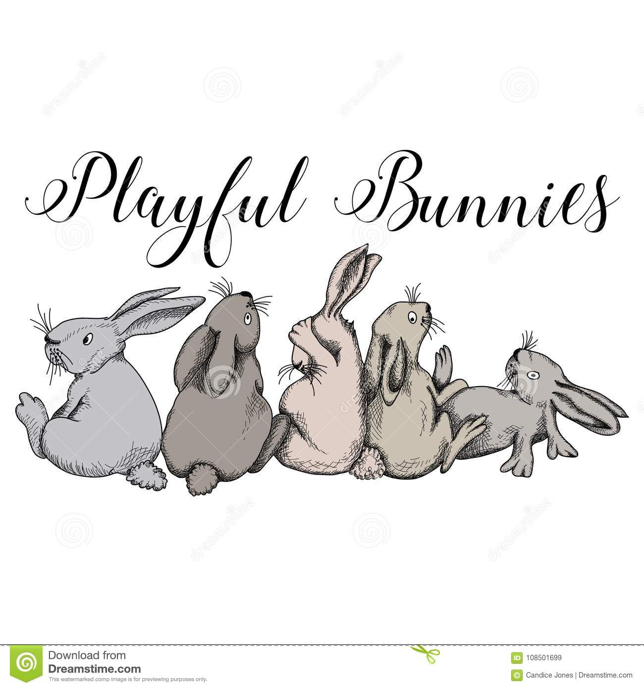 playful bunnies rabbits cute bunny fun stock vector illustration