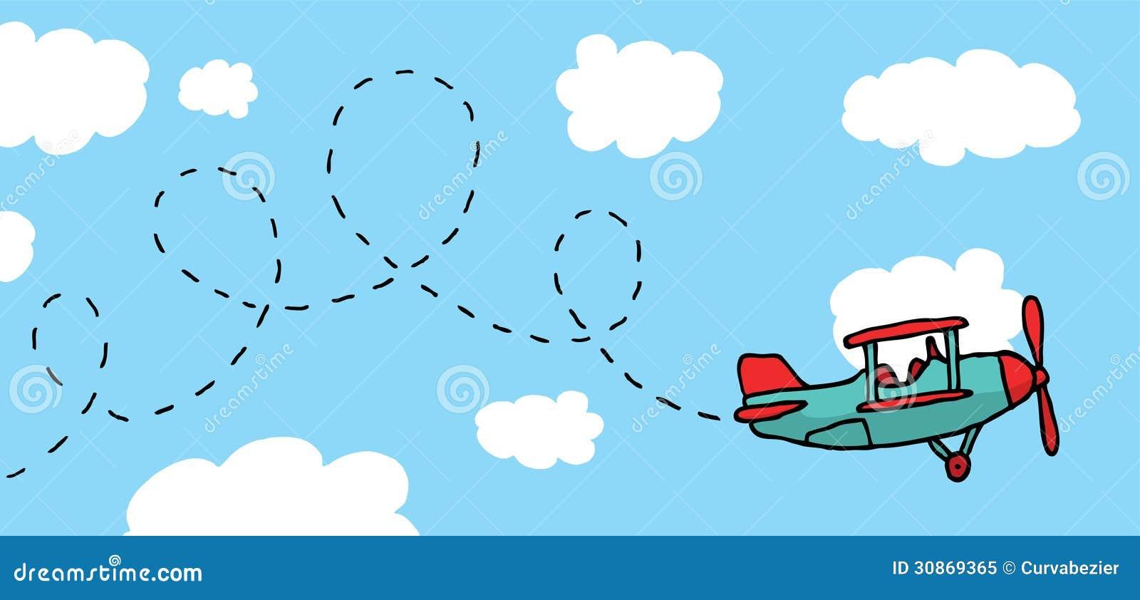 Playful Cartoon Airplane Flying Stock Illustration Illustration