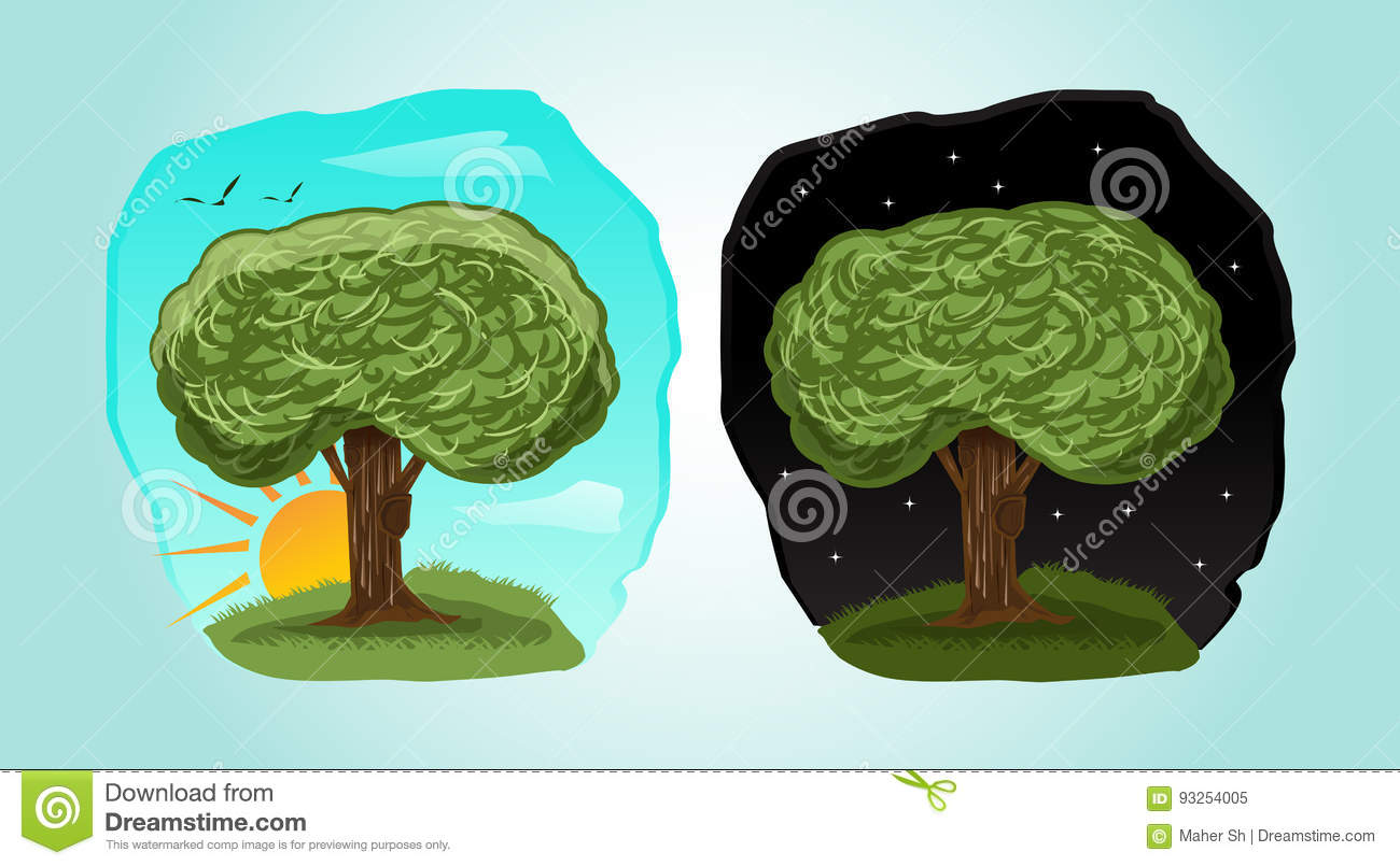 Playful Cartoon Tree Illustration With 2 Different Time Day Night Stock Vector Illustration Of Green Grow 93254005 Check out our tree bark selection for the very best in unique or custom, handmade pieces from our shops. dreamstime com