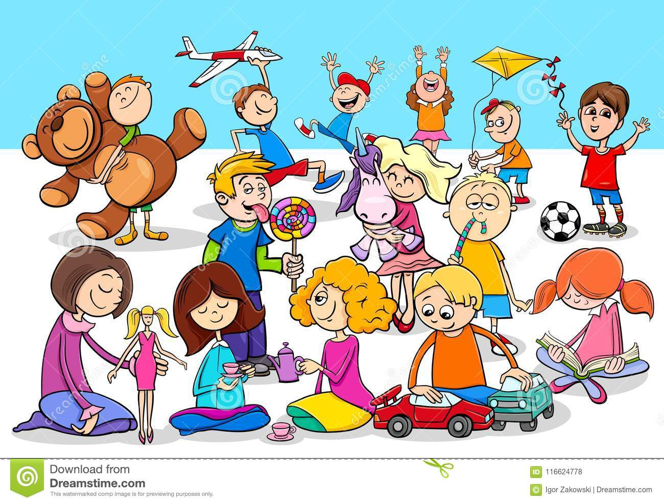 Playful Children Cartoon Characters Group Stock Vector