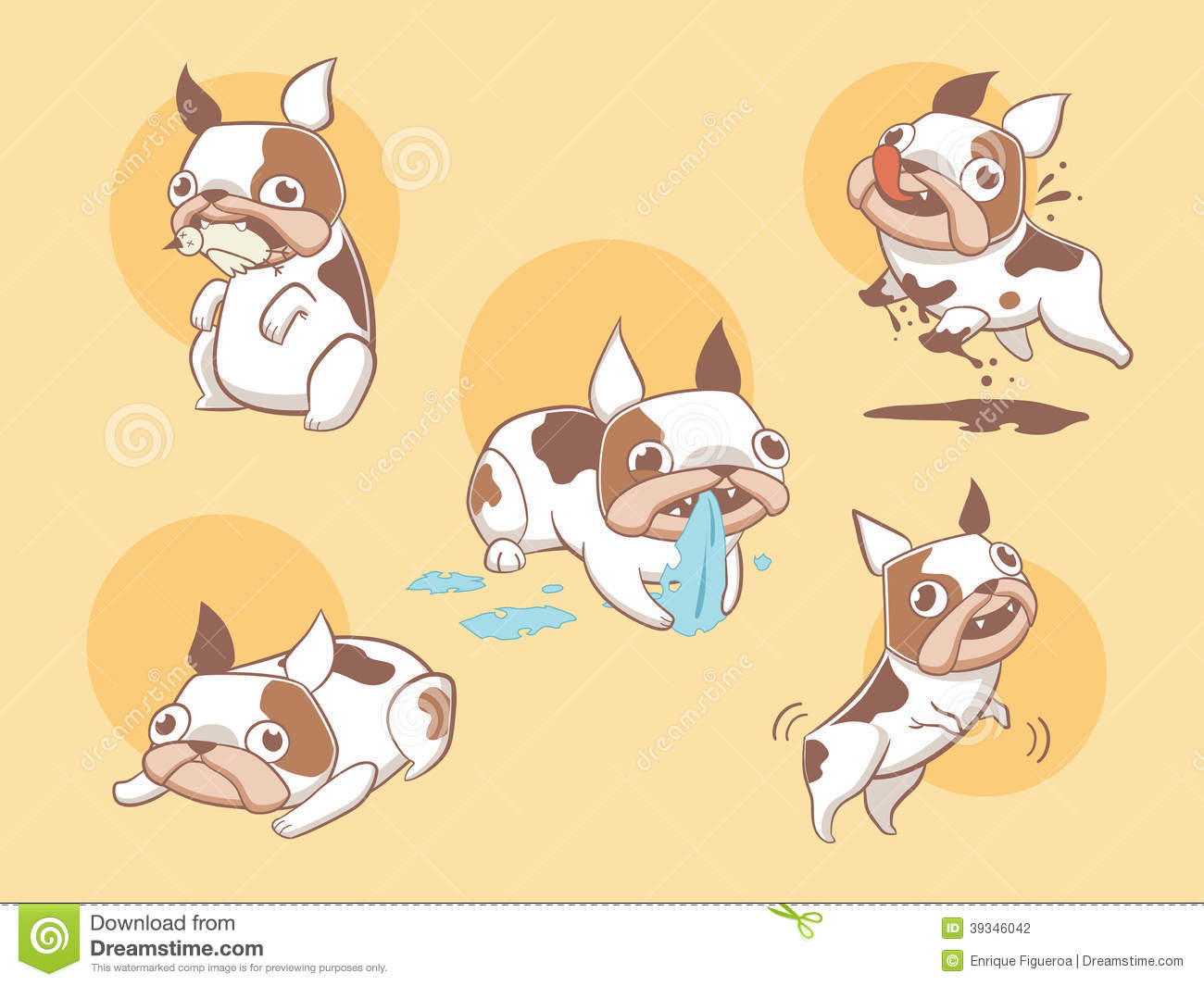 Playful Cute French Bulldog Dogs Stock Vector - Image: 39346042