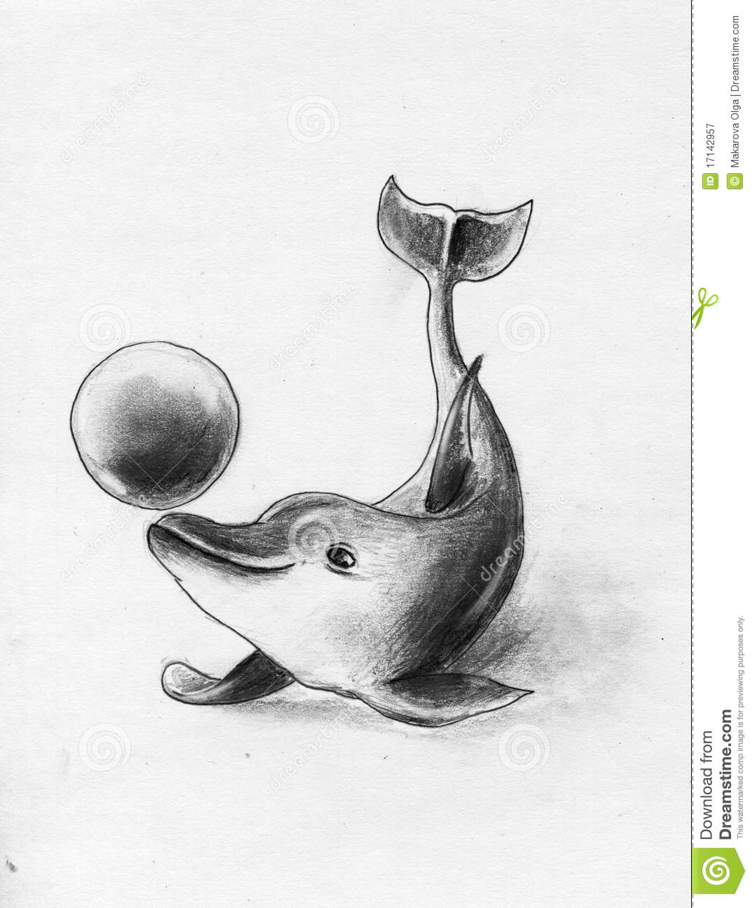 Cheery dolphin making tricks with ball pencil drawing sketch