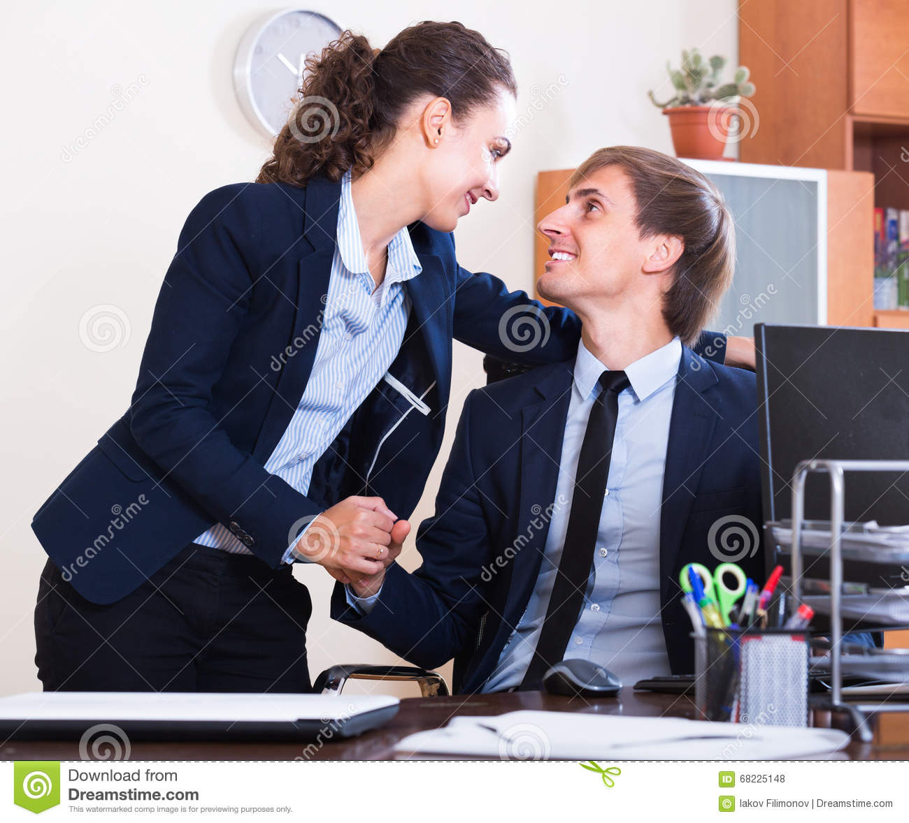 Playful Flirting Between Team Managers At Work Stock Photo ...
