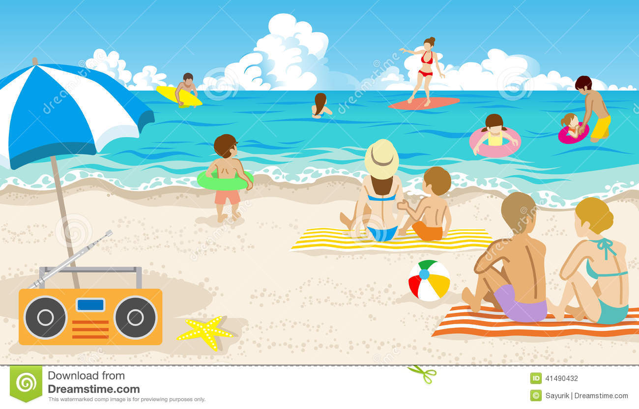 Beach With People Clipart Royaltyfree Vector Download Playful In Summer W