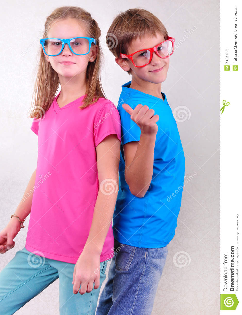 Playful Twin Brother And Sister Have Fun Stock Photo ...