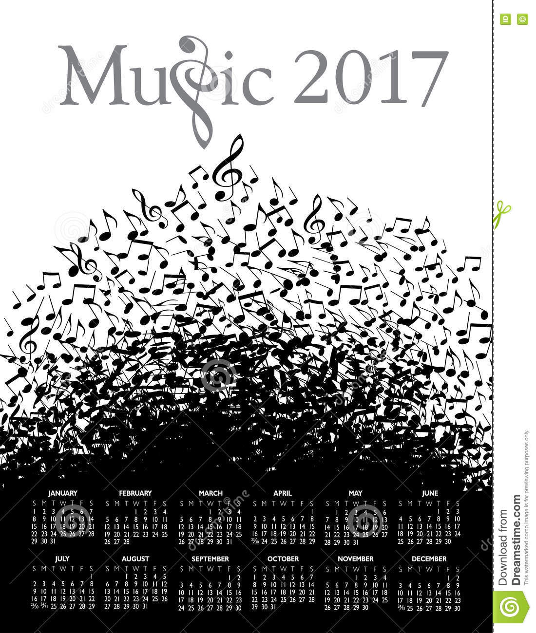 Playful Typographic Fun In This Music 2017 Calendar Stock Vector ...