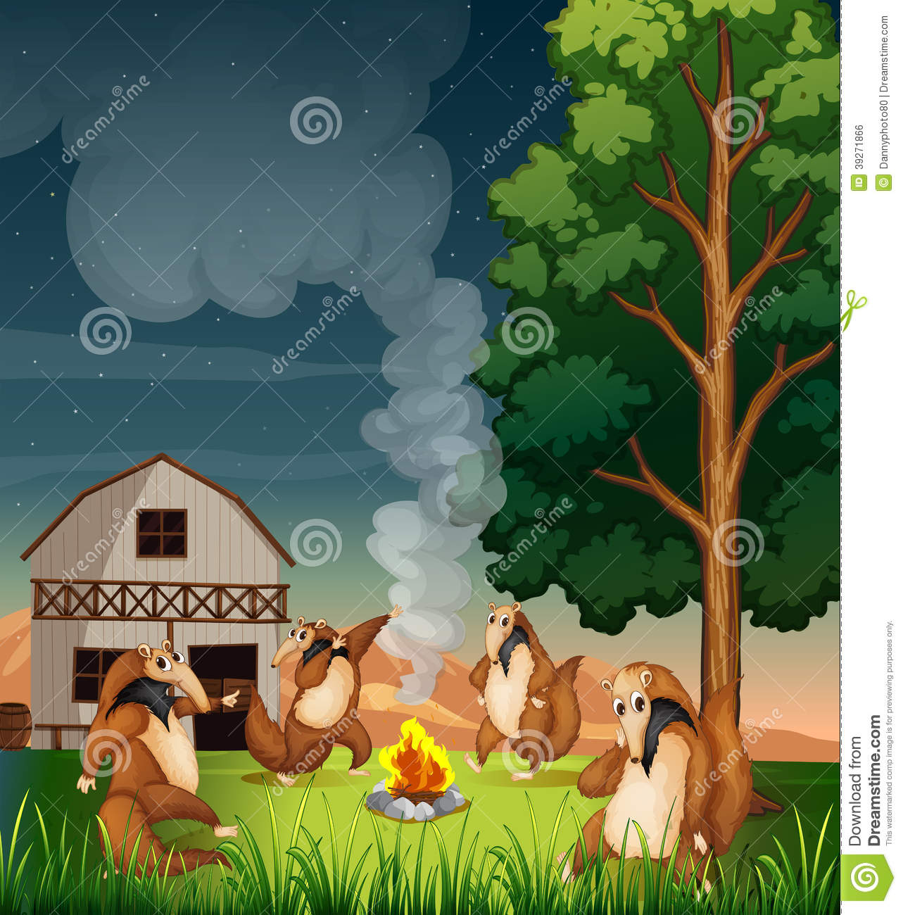 Playful Wild Animals Making A Campfire Stock Vector ...