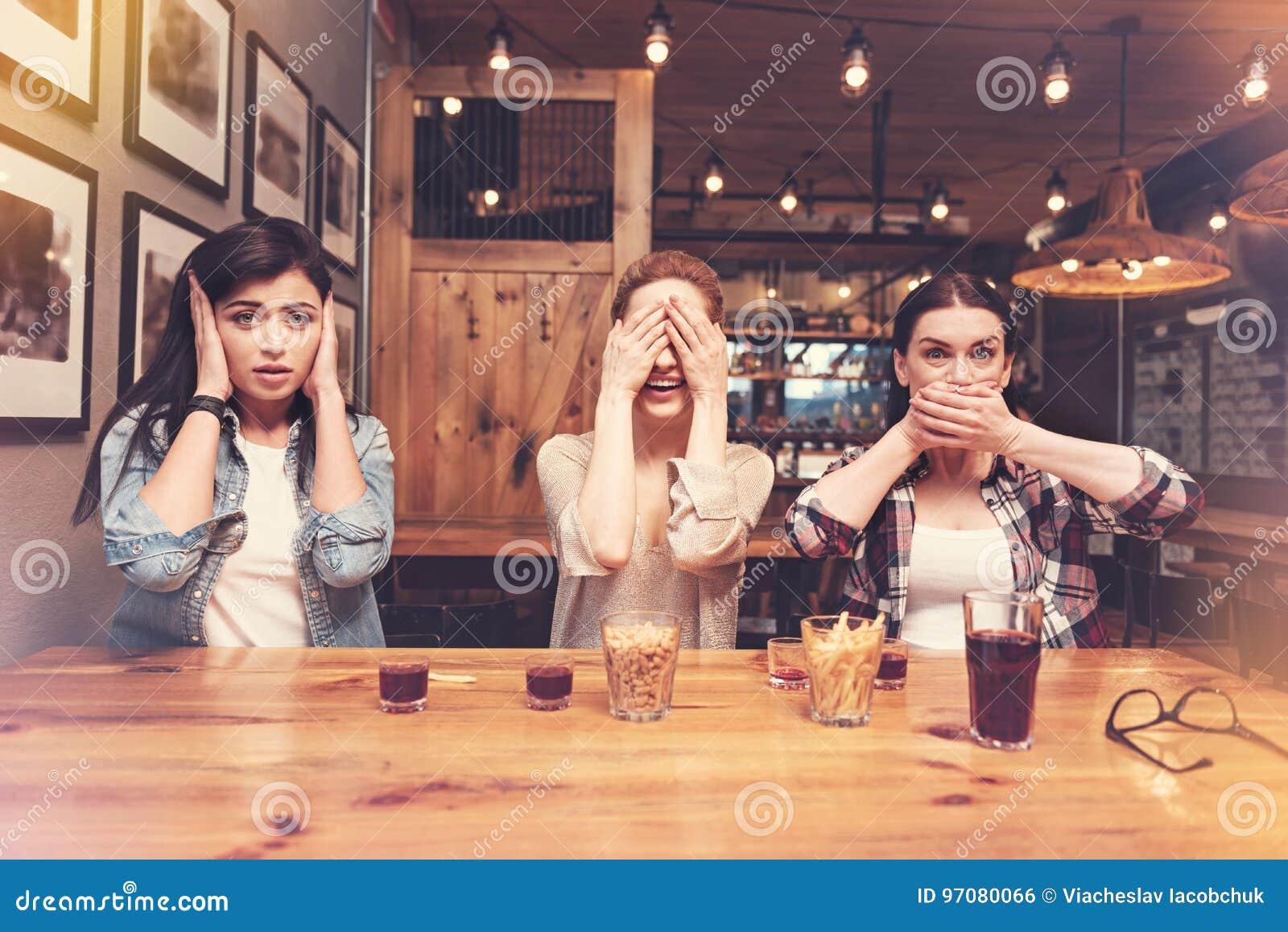 women hiding their faces Beautiful