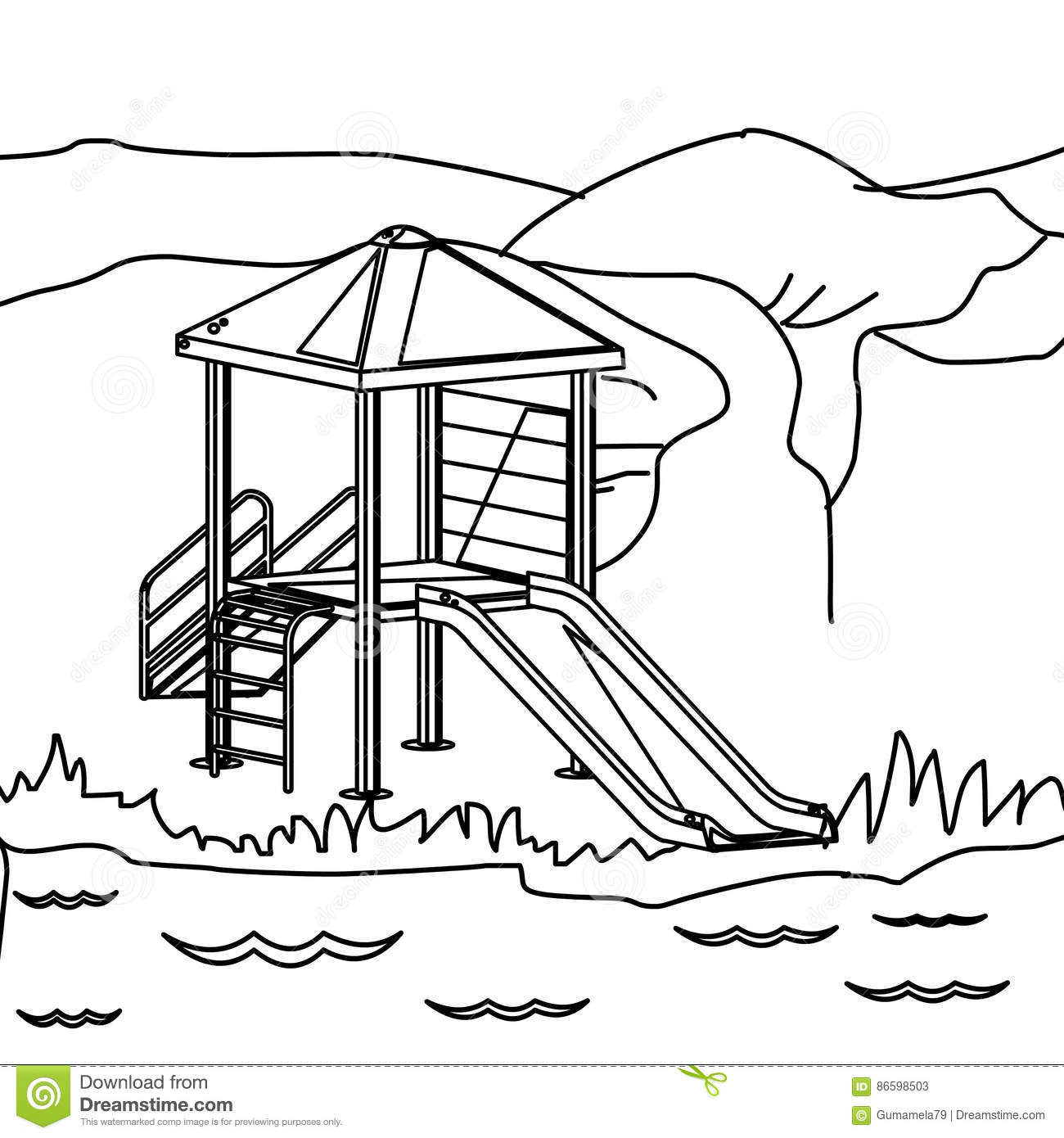 Coloring book page of a playground - Playground Coloring Page